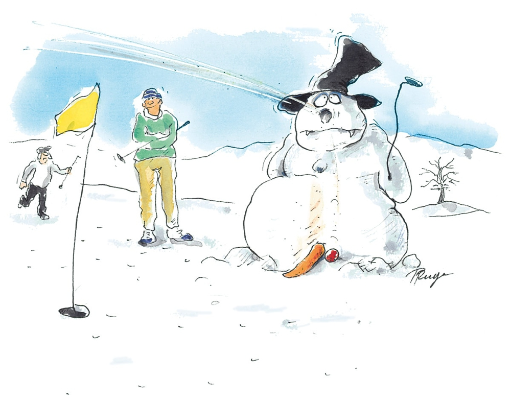 Wintergolf. Cartoon: Peter Ruge